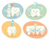 Fototapety Cute tooth in different situations. Vector illustration.