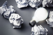 Bulb and Crumpled paper