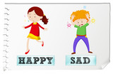 Fototapety Opposite adjectives happy and sad