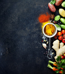 Fresh  ingredients on dark background