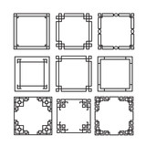 Asian frame ornament, pattern brush ,korean, chinese, japanese v - 98095734