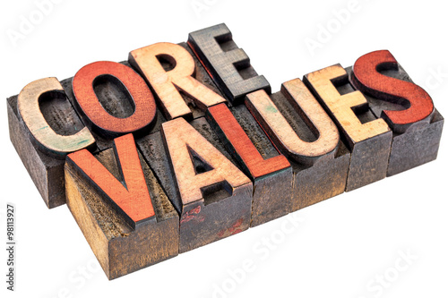 core values in vintage wood type