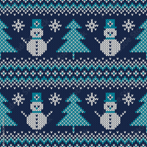 Materiał do szycia Winter Holiday Sweater Design. Seamless Knitted Pattern