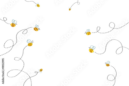 Illustration for Children: Bees Path. Realistic Fantastic Cartoon Style Artwork / Story / Scene / Wallpaper / Background / Card Design.