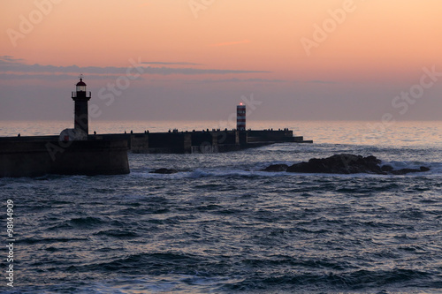 Douro river mouth at dusk