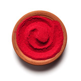 Top view close up of red color made of soil in clay pot on white background
