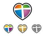 Colorful Heart Love Cross
