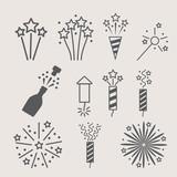 Fototapety pyrotechnic icon set . Vector illustration