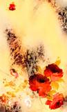 골드브라운 계열색의 내츄럴 배경과 정열적 붉은 장미