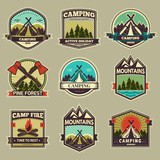 Fototapety Camp vector label