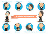 asthma symptoms Woman having asthma using the asthma inhaler . Vector Illustration.