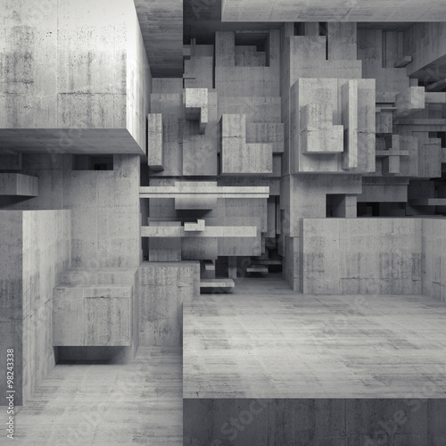 Abstract 3d concrete interior with chaotic cubes