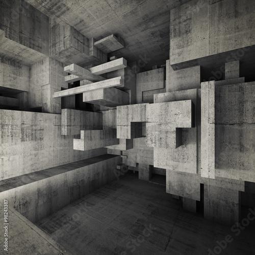 Abstract empty concrete interior 3d illustration