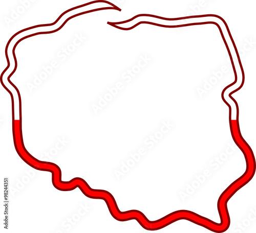 biało czerwony kontur Polski © art_mike