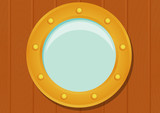 Cartoon ship porthole on wooden texture. eps10 vector illustration