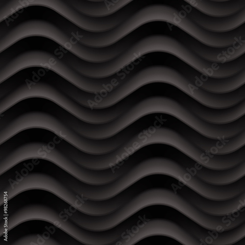 Vector black wave textured seamless background panel - 98268754
