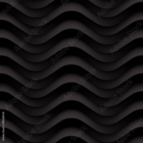 Vector black wave textured seamless background panel - 98268764