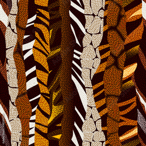 Cotton fabric Animal strikes pattern in brown colors