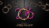 Fototapety 2016 Happy New Year and Merry Christmas Background