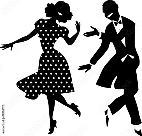 Fototapeta Black vector silhouette of a dancing couple in vintage apparel, no white objects, EPS 8