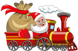 Cartoon Santa Claus Delivering Big Sack isolated by steam train