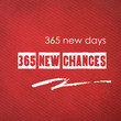 365 new days, 365 new chances : quotation on red paper backgroun