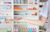 blur some shelves of drug in the pharmacy drugstore