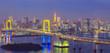 Beautiful night view of Tokyo Bay , Rainbow bridge and Tokyo Tower landmark..