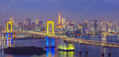 Beautiful night view of Tokyo Bay , Rainbow bridge and Tokyo Tower landmark..