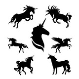 Unicorn set vector