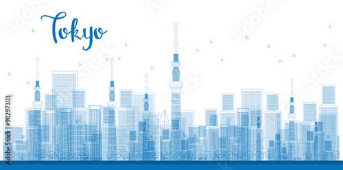 Fototapeta Outline Tokyo City Skyscrapers in blue color.