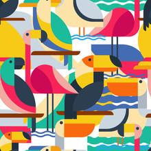 Nahtlose Muster mit tropischen Vögeln.