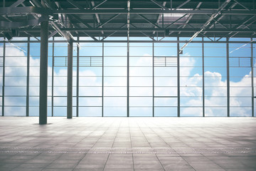 airport terminal room over blue sky and clouds