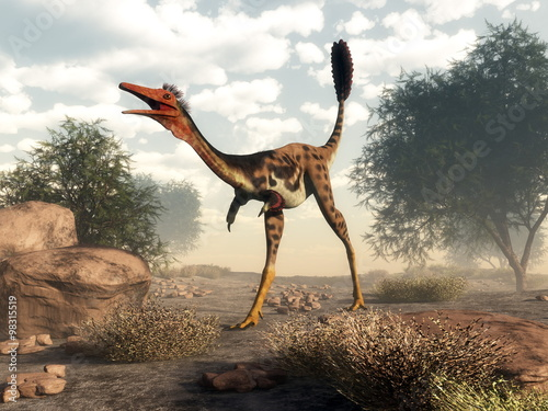 Plakát, Obraz Mononykus dinosaur in the desert - 3D render