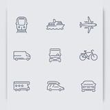 Fototapety Transport thin line icons, car, van, minivan, bus, train, airplane, ship, vector illustration