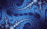 Abstract fractal, decorative blue curls on dark background