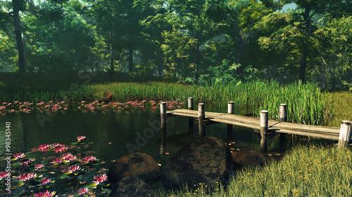 Obraz Forest Pond, 3d CG