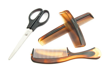 scissors and brown combs