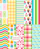 Repeating patterns for digital paper, scrapbooking, cards, invitations, gift wrap and paper backgrounds. File includes: gift print, cupcake print, gingham/plaid, polka dots, stripes, chevron and more.