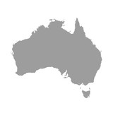 Fototapety Australia map grey colored on a white background