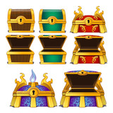 Set of wooden chests of different colors
