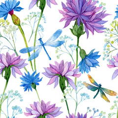 seamless pattern. watercolor blue flowers and dragonflies