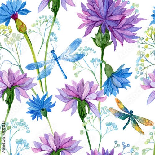 seamless pattern. watercolor blue flowers and dragonflies - 98370338