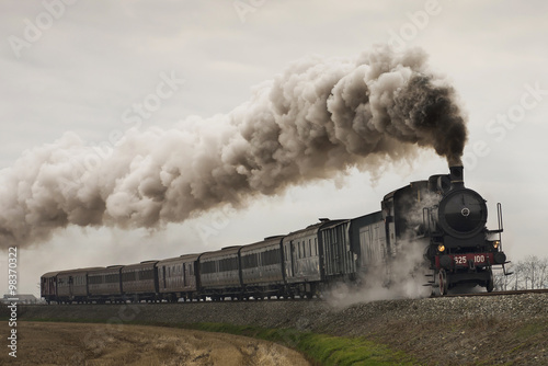 vintage black steam train плакат