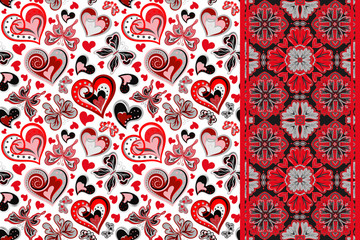 Vector pattern set with butterflies, hearts and seamless border ,ribbon strip band. Hand draw floral illustration. Valentines day