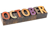 October month in wood type