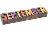 September month in wood type