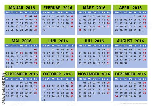 Vorlage 3 Kalender 2016 Für Niedersachsen Mit Ferien Und Feiertagen ...