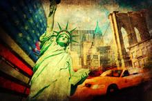 Коллаж фон Symbolen-дер-Штадт Нью-Йорк, США