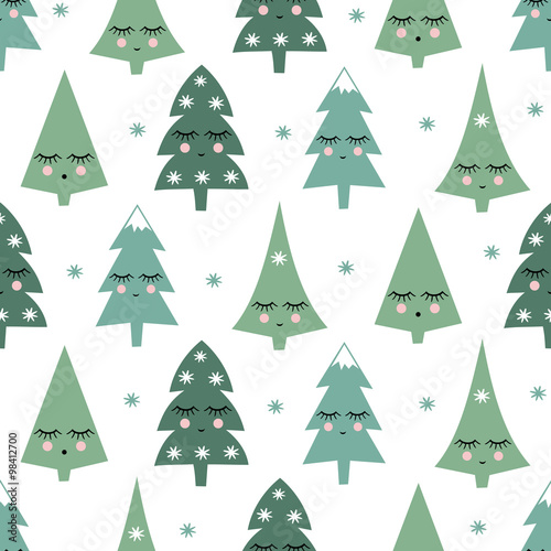 Cotton fabric Seamless pattern with smiling sleeping xmas trees and snowflakes. Happy New Year background. Cute vector design for winter holidays on white background. Child drawing style winter trees.
